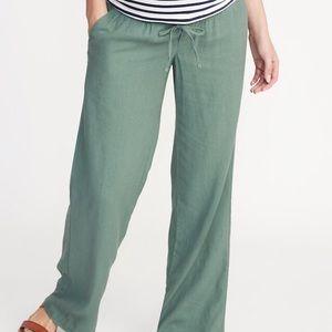 Wide Leg Maternity Linen Blend Pants